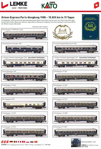 Kato (by Lemke) K23215  Paris-Hong Kong Orient Express Coach Set (15)